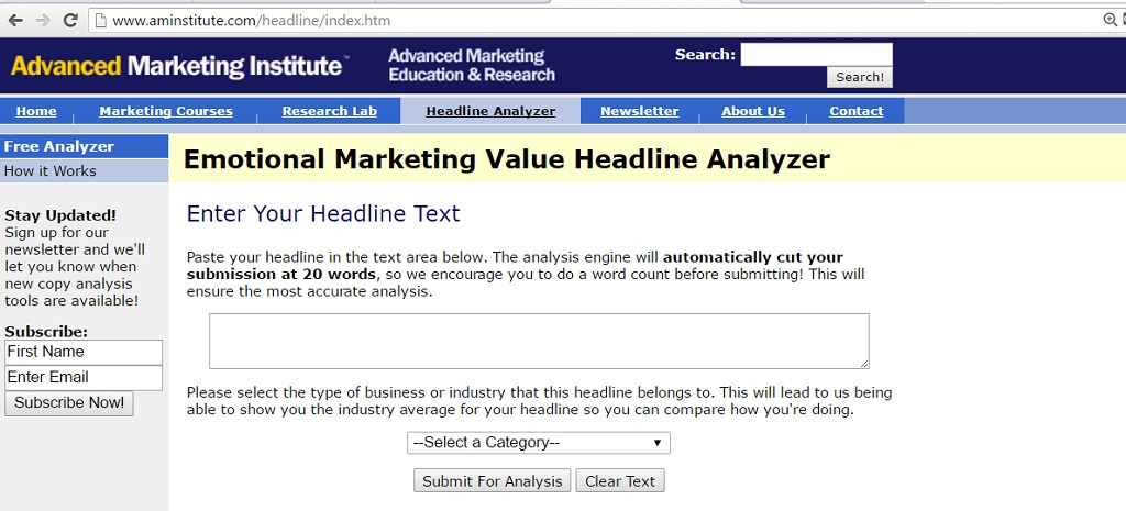 Amazingly useful tools to create catchy headline - Aminstitue Headline Analyzer